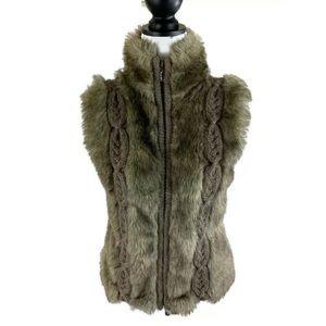 KENAR Brown Wool Faux Fur Full Zip Vest